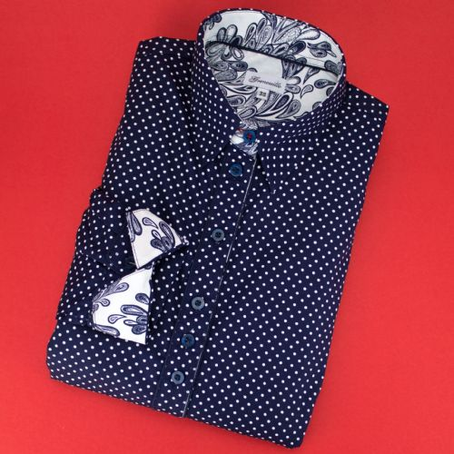 Grenouille Ladies Long Sleeve Navy and White Polka Dot Shirt with Paisley Detail